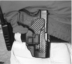 Author STRONGLY recommends some type of security holster to those who feel they must practice open carry. This carbon fiber Blackhawk SERPA with proprietary trigger-finger lock release mechanism is carried by a state police trainer in casual clothes. Pistol is baby Glock.