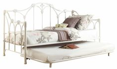 Amazon.com: Homelegance 4961DB-NT Metal Daybed with Trundle, White Finish: Home & Kitchen