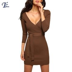 Shop Khaki V Neck Tie-Waist Bodycon Dress online. SheIn offers Khaki V Neck Tie-Waist Bodycon Dress & more to fit your fashionable needs. Fall Dresses, Cheap Dresses, Sexy Dresses, Long Sleeve Sweater Dress, V Neck Dress, Dress Long, Khaki Dress, New Arrival Dress, Yes To The Dress