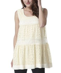 Look at this Simply Couture Yellow Lace Sleeveless Tunic on #zulily today!