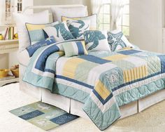 Bright Beach themed quilts with various sealife motifs: starfish, coral and seashells. These quality beach quilt sets are luxury, over-sized, and will enhance your beach bedroom decor. Beach Theme Bedding, Beach Bedding Sets, Nautical Bedding, Coastal Bedding, Coastal Bedrooms, Comforter Sets, Luxury Bedding, Beach Bedrooms, Nautical Quilt
