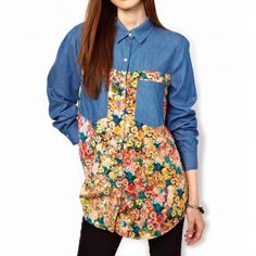 Shop the affordable Blue Lapel Long Sleeve Loose Flower Print Blouse from Tops collection that inspired by most covetable trends. Save your budget by purchasing your Blue Lapel Long Sleeve Loose Flower Print Blouse here! Floral Print Fabric, Floral Print Shirt, Denim Shirt, Jeans, Denim Blouse, Floral Denim, Chambray Top, Spring Shirts, Printed Denim