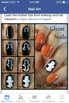 20 Easy Step By Step Halloween Nail Art Tutorials For Beginners 2015 - Nageldesign - halloween nails Cute Halloween Nails, Halloween Nail Designs, Halloween Ideas, Scary Halloween, Halloween Kunst, Fancy Nails, Cute Nails, Nail Art Designs, Nagellack Design