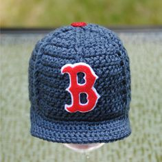 Boston Red Sox crocheted baseball cap
