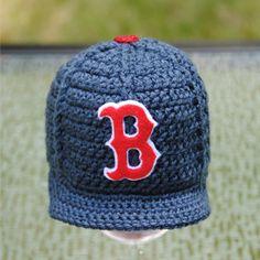 Boston Red Sox crocheted baseball cap