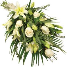 Moonlight      A simply stunning display of long-stemmed white roses and creamy oriental roses against a bed of scented eucalyptus and palm leaves. Arranged in a traditional style, laid flat and tied at one end, this classic floral ensemble will be hand delivered and presented in a pretty wrap.