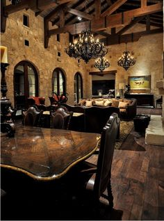 Stonewalls on the interior of the living and dining room Best Interior Design, Interior Decorating, Tudor Decor, Tuscan Design, Tuscan Style, Old World Kitchens, Gothic Interior, Mediterranean Decor, Lighting Design