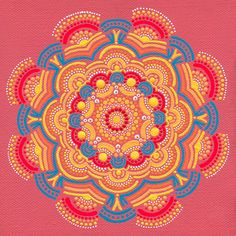 Orange Sun Coral Mandala Painting on Canvas by joypompeo on Etsy, $70.00