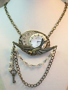 Vintage Time Flies Brass Steampunk Pendant Necklace | TimelessDesigns - Jewelry on ArtFire