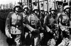 Photo of Waffen SS parade retrieved from the wallet of German KIA in Russia. No other details available.