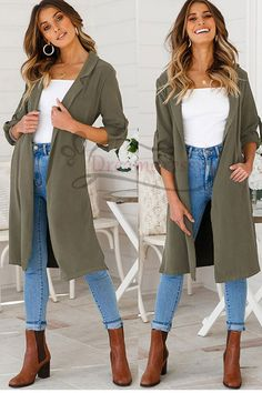 Casual Olive Green Trench Coat with Pocket Green Shirt Outfits, Green Jacket Outfit, Olive Green Outfit, Long Green Jacket, Blazer Outfits Casual, Blazer Outfits For Women, Green Shirt Dress, Stylish Outfits, Olive Green Blazer