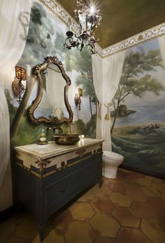 Trompe l'oeil walls & a custom hand-painted cabinet for a copper vessel sink...