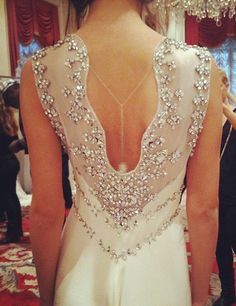 Jenny Packham Bridal 2013. This style is called Muscari--this pic was snapped backstage! ~ i'd love to have some touches of #sparkle embroidered on my wedding gown mixed w/lace work