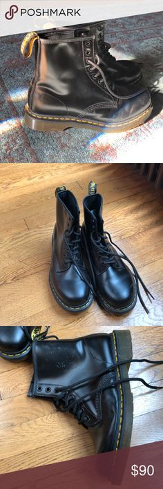 Doc Martens- Black, like new These boots are like new, I only wore them twice. They are much too big for me, and that's my only reason for selling them. There are a few slight scuffs (see photos) but otherwise they are pristine. Doc Martens Shoes Lace Up Boots