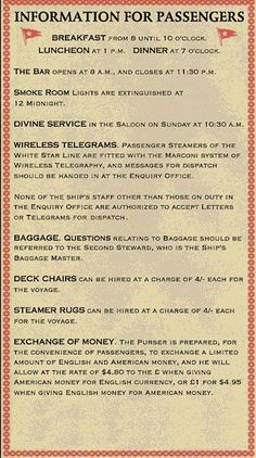 White Star Line information for Titanic passengers - very entertained that church service was in the saloon! RMS Titanic