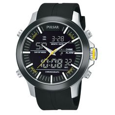 Pulsar Analog and Digital World Time Alarm Chronograph PW6001 - Quartz... (5.745 RUB) via Polyvore featuring men's fashion, men's jewelry, men's watches, mens analog watches, mens quartz watches, mens chronograph watches, mens analog digital watches и mens black face watches