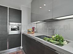 lacobel w kuchni kolory mebli,  połysk i mat