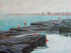 A hazy day and a bucket 45x60cm Seascape Paintings, Landscape Paintings, Painter Artist, Classic Paintings, Sunshine Coast, Australian Artists, Figure Painting, Still Life, Gallery