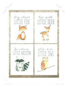 Woodland Animal Prints Set of 4 Baby Boy Nursery Woodland Creatures Woodland Nursery Decor Woodland Fox Print, Deer Print, Owl Print - Baby boy nursery woodland, Wood -