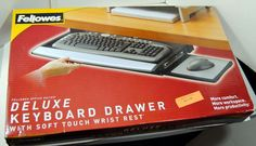Fellowes Deluxe Black Keyboard Drawer Silver Soft Touch Wrist Rest Mouse Pad…