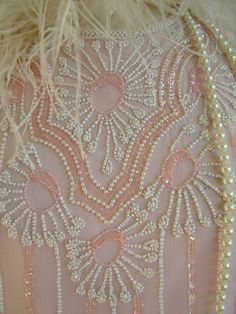 Flapper pale pink beaded dress 1980s does 1920s beaded wedding dress. $200.00, via Etsy.
