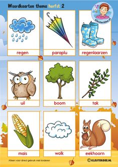 Fall words with pictures for kindergarten kindergarten expert, free printable Language Activities, Writing Activities, Learn Dutch, Fall Words, Kindergarten Songs, Dutch Language, School Themes, Exercise For Kids, Autumn Theme