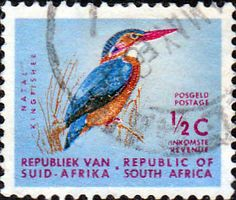 Stamps showing African Pygmy Kingfisher Ispidina picta, with distribution map showing range