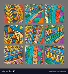 Set of four colorful intricate patterns Doodle vector image on VectorStock Easy Landscape Paintings, Art Articles, Sewing Art, Mural Art, Tile Art, Silk Painting, Art Plastique, Elementary Art, Bunt