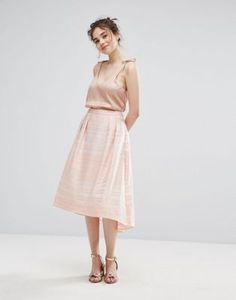 "Oasis Organza stripe midi skater skirt - Model wears a UK 8/EU 36/US 4 and is 173cm/ 5'8"" tall"