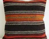FREE Shipment / Sukan / Organic Shine Society Modern Bohemian Throw Pillow. Handwoven Wool Vintage Tribal Turkish Kilim Pillow Cover - 16x16