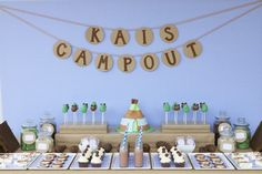 dessert tables, party banners, camp parti, happy birthdays, birthday parties
