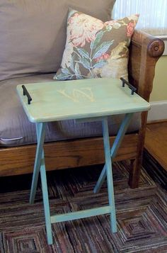 add our initial to tv tray in mint green for living room side table