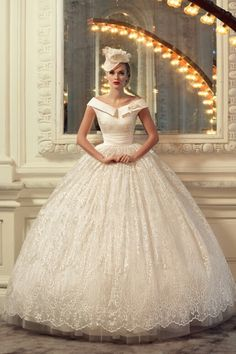Tatiana Kaplun Bridal Collection 2015 | AMAZING, Satin & Lace Bridal Ball Gown Featuring A Satin, Notched  Off-The-Shoulder Neckline, Fitted Bodice, Satin Cumberbund At Natural Waist, & A Glorious, Lace Ball Gown Skirt Showcasing A Tulle & Crinoline Underlay·····