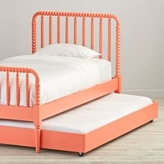 Would look GREAT wirh some TURQUOISE Sheets on one of the mattresses! ☆ Jenny Lind Coral Trundle Bed | The Land of Nod