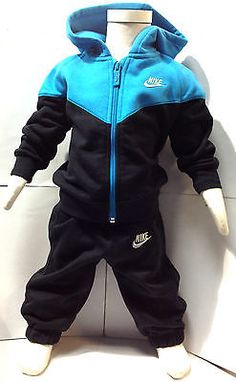 Nike Tracksuit Boys Kids Infants Childrens Black/Blue Size 3 Month-36 Months NEW