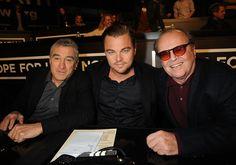 Leonardo DiCaprio flanked by Robert De Niro and Jack Nicholson