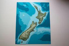 """New Zealand Topography - 8 x 10"""" layered papercut art"""