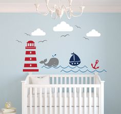 Nautical Theme Wall Decal Nursery Whale Baby Decals