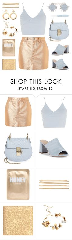 """""""Gold and blue"""" by deepwinter ❤ liked on Polyvore featuring Topshop, Chloé, BCBGeneration, Lapcos, Cara, Chanel, Anna Sui, Twigs & Honey, Mykita and L'Oréal Paris"""