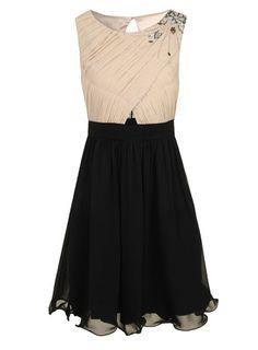Cream and black embellished dress -DP