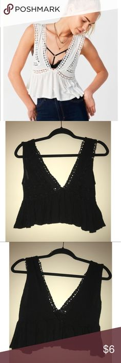 BLACK UO Lace Crop Top ** DIFFERENT COLOR THAN PICTURED** Super cute black lace top made by Kimchi Blue bought at Urban Outfitters. Perfect for music festivals!! Only worn once Urban Outfitters Tops Crop Tops