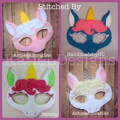 ITH Unicorn Mask Machine Embroidery Design by KatieLDesigns