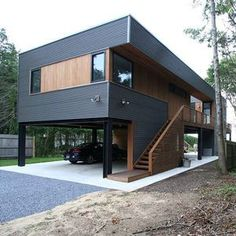 Small House Design, Modern House Design, Modern Wood House, Building A Container Home, Container Buildings, Storage Container Homes, Shipping Container Home Designs, Shipping Containers, House On Stilts
