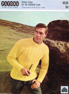 440aa783a1ab1 Knitting Pattern mans crew neck heavily cabled aran raglan sweater patons  9538
