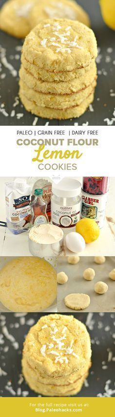 Soft and chewy Coconut Lemon Cookies are the perfect addition to your baking for an easy everyday snack! All clean eating ingredients are used for this healthy cookie recipe. Make next time you want a healthy dessert option. Paleo Cookies, Lemon Cookies, Cookie Recipes, Cookies Soft, Coconut Cookies, Paleo Dessert, Healthy Desserts, Coconut Flour Recipes, Gluten Free Recipes