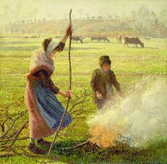 Masterpiece of Art: Camille Pissarro - White Frost, Woman Breaking Up ...