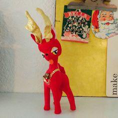 Vintage red velvet kitschy reindeer Kamar made in Japan 1965 by GoldenDayVintage on Etsy https://www.etsy.com/listing/259021906/vintage-red-velvet-kitschy-reindeer