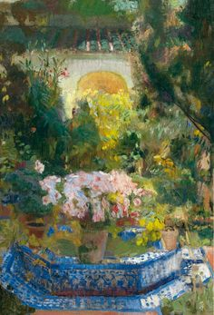 Seeking superior fine art prints of Courtyard of the Casa Sorolla by Joaquin Sorolla y Bastida? Spanish Painters, Spanish Artists, Art Espagnole, Garden Painting, Art Plastique, Figure Painting, Oeuvre D'art, Art Google, Land Scape