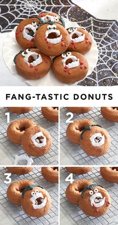 Vamp it up this Halloween with bloody good donuts. This devilish treat starts with your favorite cake donuts. Add in fake plastic vampire teeth. Draw a widow's peak with black decorating gel. Place black and white candy eyes above the fangs and finish with drops of red decorating gel around the mouth. You now have a ghoulish treat and a fang-tastic party favor! Featured product: Celebrate Halloween Together spiderweb table runner. Get your Halloween haunt on at Kohl's.