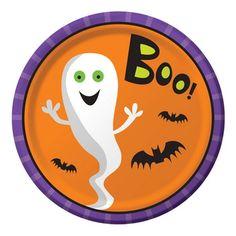 Attraktive og farverige ekstra stærke spøgelse tallerkner til din næste halloween fest.